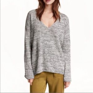 H&M Conscious V-Neck Marled Oversized Sweater S